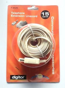 Digitor Telephone Extension Linecord F2125 - 15 meter - NEW