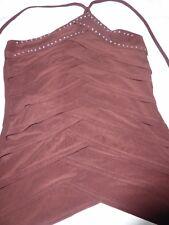Vestry Damas Glamour Marrón Chaleco Top, medio, diseño detallado, Gran Calidad