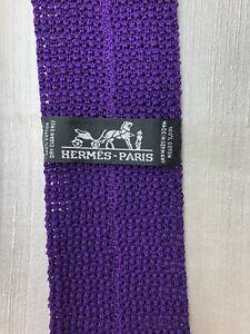 HERMES PARIS 100% Cotton RARE Solid Textured Purple Knit Tie Exquisite Luxury