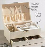 SOPHIA CLASSIC JEWELLERY BOX WITH SECTIONED DRAWERS & MIRRORED LID - BRAND NEW