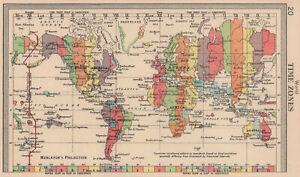 World Time Zones. BARTHOLOMEW 1949 old vintage map plan chart