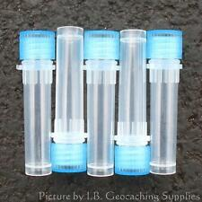50 Geocaching Nano Containers (Plastic Bison Tubes, O-ring, Blue Cap)