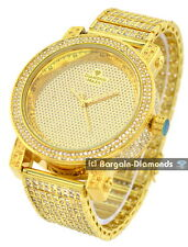 mens diamond gold 50 mm clubbing ice out case watch bracelet leather Gift Box