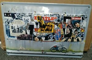 """THE BEATLES, ALBUM COVERS,  EMBOSSED (3D)  VINTAGE-STYLE METAL  SIGN, 12""""X 8"""""""