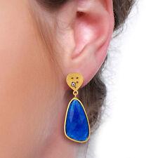 14K Gold Plated Blue Aventurine Earrings Women Fashion Accessories Jewelry