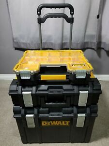 Dewalt tough system XL and small toolbox BROKE HANDLE & case folding cart dolly