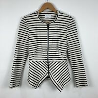 Bec And Bridge Womens Long Sleeve Top Size 8 Black White Stripe Front Zip