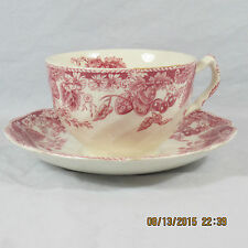 Johnson Brothers Strawberry Fair cup saucer set white red pink berry leaf flower