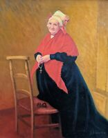 Lovely Christian Lady in Red Shawl O/C painting. American 20c. Signed Framed