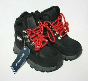 NWT Nautica Alx Toddler Boys Black Snow Boot Red Lace-Up Winter Shoe Size 9 New