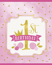 1st BIRTHDAY Pink and Gold FAVOR BAGS (8) ~ First Party Supplies Treat Loot Girl