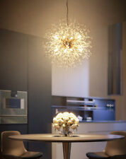 Nordic Dandelion Flower Gold Chrome Crystal Chandelier Pendant Light Lamp Bulbs