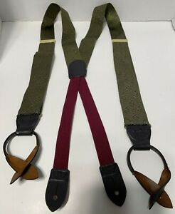 Cole Haan Suspenders Braces Button Olive Green Woven 100% Silk A2933