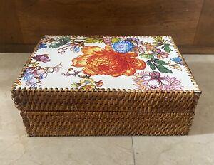 MacKenzie-Childs Flower Market Wicker Rattan Box Rare & Gorgeous!