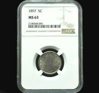 1897 Liberty Head V Nickel~BU~Graded MS63 by NGC~Strong Strike with Luster+++!