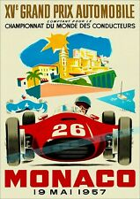 Monaco Grand Prix 1957 World Championships Vintage Poster Print Retro Style Art