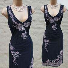 Karen Millen Vintage Black Mesh Embroidered Pearl Beaded Cocktail Dress 10 UK