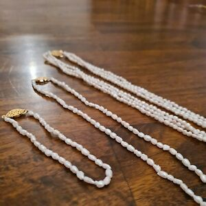 Real Freshwater Pearl Necklace & Bracelet Set Baroque Multi-Layer Long White