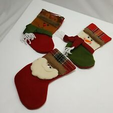 Plush 3 Piece Stocking Christmas Set Collectible Snowman Santa Reindeer 7.5in