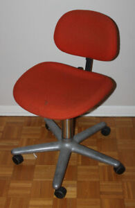 1970's HERMAN MILLER Ergon Office Chair Orange Rolling Chrome Base