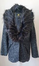 Brave Soul Ladies Tweed Jacket with Detachable Fur Trim Collar  RRP£69.00 Size 8