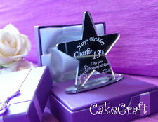 Engraved Personalised Birthday thank you keepsake gift with stand in box