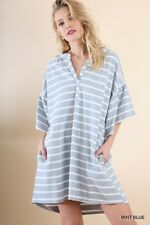 OVERSIZED SML UMGEE GREY or MINT BLUE Striped Pockets Slouchy Dress/Tunic BHCS