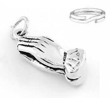 """SILVER """"PUFF PRAYING HANDS"""" CHARM WITH SPLIT RING"""