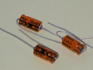 3pk - 10uf/63V Axial Capacitors - Sprague