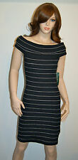 New $100 Ralph Lauren Dress Black Platinum P XS PT Stripe Cap Sleeve Boat Neck