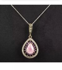 Antique Vintage 925 Silver Necklace with Amethyst and Topaz.