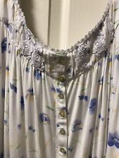 NEW Eileen West Size XL Periwinkle Blue And White Cotton Modal Gown, Retail $64