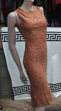 Increíble hecho a mano frambuesa NARANJA Noche Vestido De Seda & BOLERO CON ORO