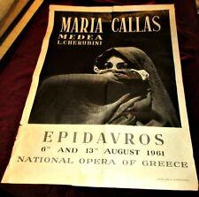 UNIQUE VINTAGE GREEK  LITHO -MEDEA MARIA CALLAS -EPIDAYROS THEATER POSTER 1961