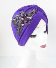 Purple Sequin Beaded Embellished Turban Headpiece 1920s Flapper Cloche Hair 4770