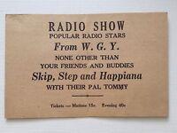 WGY Radio Ad Card Schenectady 1930s Skip Step and Happiana Show Fultonville NY