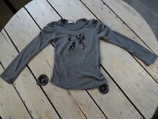 Pull manches longues gris anthracite nœud dentelle CHARLIE & PRUNE Taille 5 ans