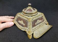 Antique Bronze and Leather Inkwell with Original Glass Insert
