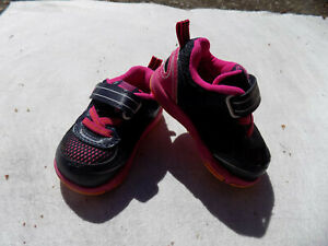 Pediped ULT Flex Zone Toddler Baby Shoes Sz 19 US 4 Navy Blue Hot Pink EUC Clean