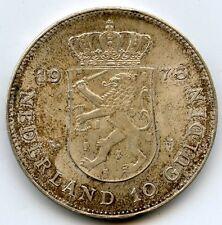 Netherlands 1973 Silver Coin - 10 Gulden - Nederland - Juliana Regina - AD201