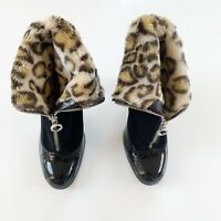 Marc Jacobs Suede Patent Leather Leopard Lined Ankle Boot, Size 8.5