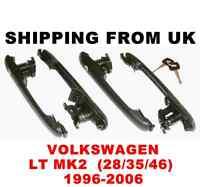 4x DOOR HANDLE LOCK SET FRONT LEFT RIGHT SIDE REAR 1 KEY! for VW LT MK2 28 35 46