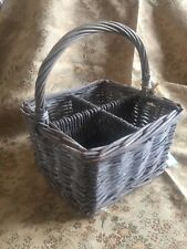 Natural Willow Wicker Compartment Basket Grey Square Condiment Cutlery