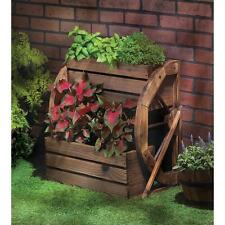 New Wagon Wheel Two Tier Rustic Planter Country Style Wooden Lawn & Garden Decor