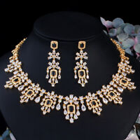 African Gold Black CZ Stone Bridal Wedding Drop Necklace Earrings Jewelry Set