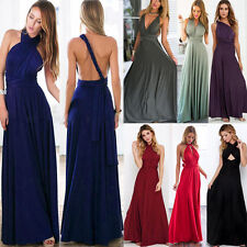 Women's Convertible Multi Way Wrap Maxi Robe Bridesmaid Wedding Gown Long Dress