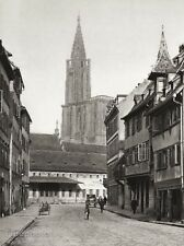 1934 Vintage 11x14 FRANCE Strasbourg Cathedral Street Cityscape Art ~ HURLIMANN