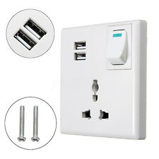 2-Port USB Wall Power Supply Charger AC Outlet Plate Socket Receptacle w/ Switch