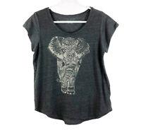 Lucky Brand Women's Size XL Elephant Print Charcoal Gray Tee T-Shirt Top Boho