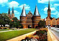 Hansestadt Lübeck , Blick auf St. Marien , Holstento , Ansichtskarte, ungelaufen